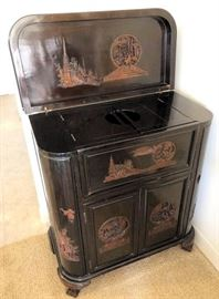 PVT003 Oriental Carved Wooden Wine Cabinet