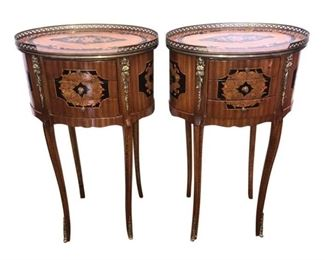 """Oval pair of petite come out with brass accents detail. The piece is beautifully done with three drawers.  17 x 12 x 29""""H each."""