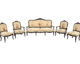 Rare find, Antique French salon set, with petite point tapestry upholstery. Five piece collection includes Sofa, 2 Arm Chairs, 2 Armless Chairs