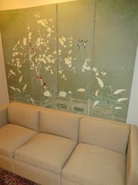 PAINTED ASIAN SCREEN 4 PANELS RED BIRDS & BLUE BIRDS IN WHITE TREE SOFT GREEN BACKGROUND