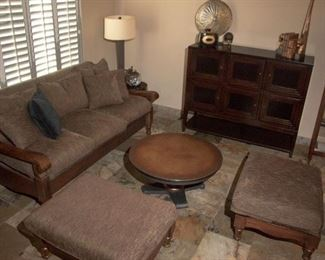 """Coffee table has a copper top  and is 36"""" round, all furniture is in great condition."""