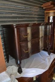 Unusual Antique Mahogany Washstand with Serpentine Front and Claw Feet