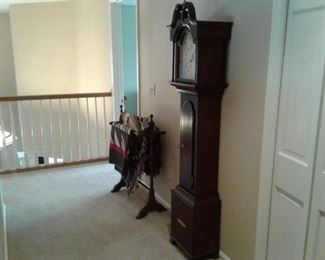 Grandmother clock, quilt rack