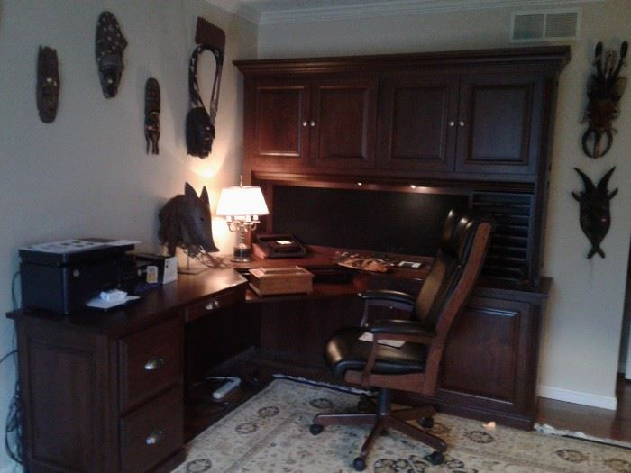SOLID BLACK WALNUT AMISH MADE EXEC. DESK ENSEMBLE, WAS $14,000 NEW!