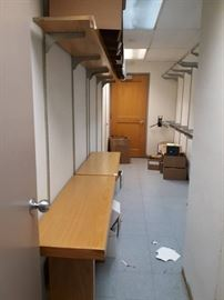 All Shelves and Tables of Storage Room, and Door