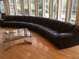 22 section DS 600 sofa in dark brown leather