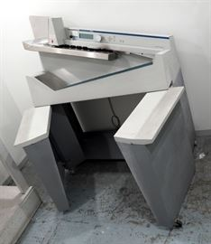 Omation Opex 206 Enveloper High Volume Mail Letter Opener Conveyor With Rolling Metal Storage Cabinet