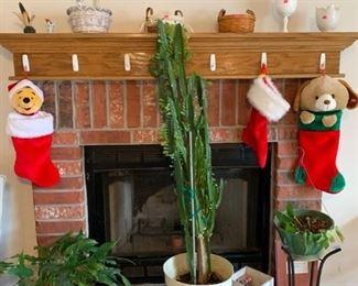 Plants, Christmas stockings, 2 small Longenburger baskets, misc.