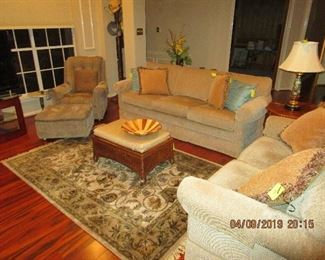 Soft Earth Tone Living/Den Sofa and Love Seat