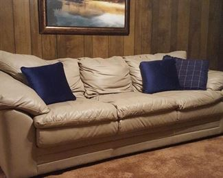 Contemporary ivory leather couch