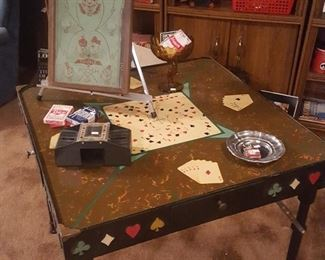 Very old hand-made folding poker table
