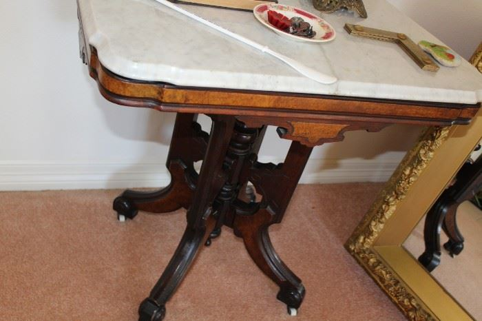furniture marble top eastlake side table