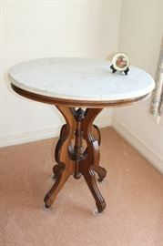furniture marble top round eastlake table