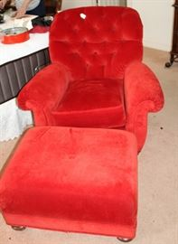Furniture red overstuffed chair and ottoman