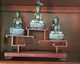 Three blue and white sitting buddhas with mahogany display stand certified antique