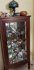 Display Case antique mahogany, Tiffany style lamp, collectibles