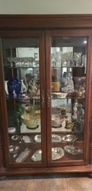 Thomasville Hemingway Collection China Cabinet part of matching set of table, chairs, poster bed, dresser, armoire - carved tropical leaf motif