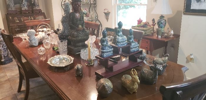 Three blue and white Sitting Buddah's, fun and interesting clutch bags in animal shapes,  carved wood Quan Yin, much more.