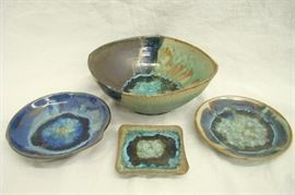 Custom Made Dock 6 Pottery Kerry Brooks Geode Bowl and Plate Set