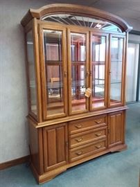 KELLER Solid Wood Lighted China Cabinet