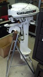 Vintage McCulloch Outboard Motor with stand.  Rare find!