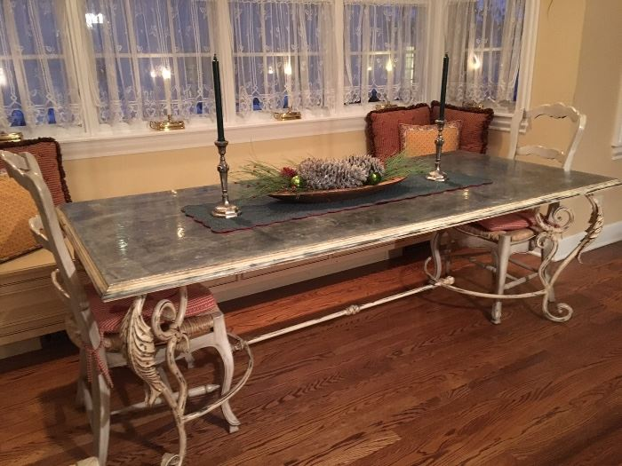 Zinc top French antique table with iron legs!