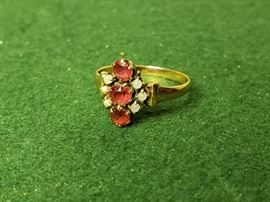Atq Garnet and Pearl Ring