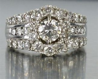3 CT Brilliant Diamond Estate Ring in 14k White Gold