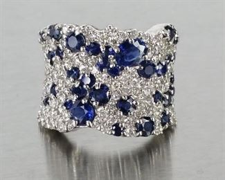 4 CT Natural Blue Sapphire and White Diamond in 14k White Gold