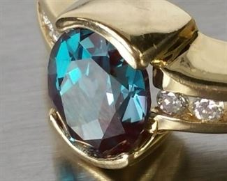 1.62 CT Color Change Brazilian Alexandrite and Diamond Estate Ring in 14k Yellow Gold