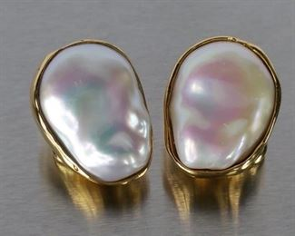 Beautiful High Luster Baroque Pearl Estate Earrings in Heavy 18k Yellow Gold