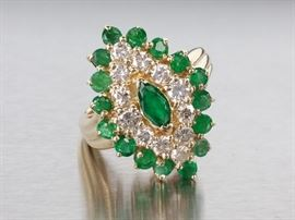Exceptional Natural Emerald and Diamond Estate Ring in 14k Yellow Gold