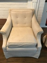 #5	linen color button back chair 	 $75.00