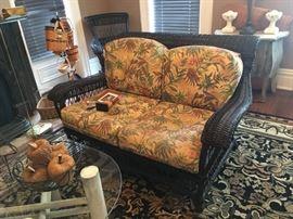 Black wicker love seat