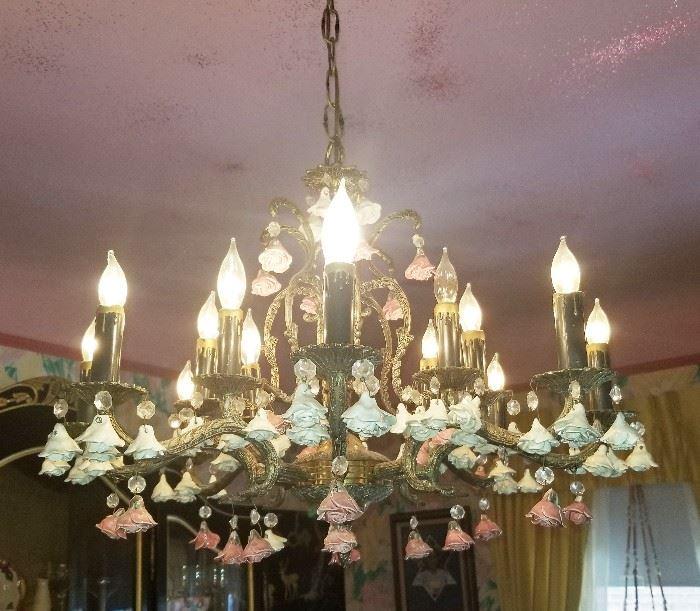 3- Vintage Capodimonte Chandelier Italian Porcelain Pink & Blue Roses