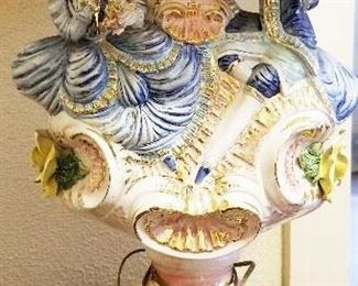 1a- Capodimonte Porcelain Italy Victorian Figure Lamp with original shade