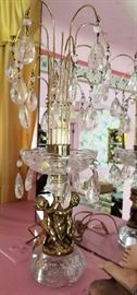 64- Hollywood Regency Cherub Waterfall Prism Accent Lamp (2 available)
