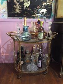 121- Outstanding vintage Gilt Rope & Tassel Drinks Trolley