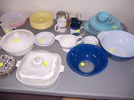 CORNING AND PYREX  ALSO LITE PINK PYREX  IN BACK LEFT
