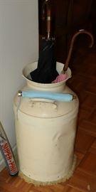 Vintage galvanized milk jug