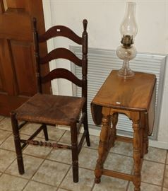 Pine drop leaf end table