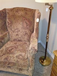 Wingback chair and floor lamp