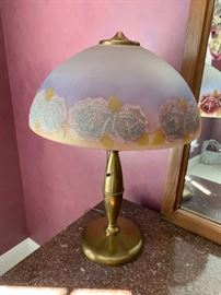 Vintage reverse painted frosted glass lamp