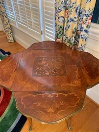 4 sided drop leaf table with inlay