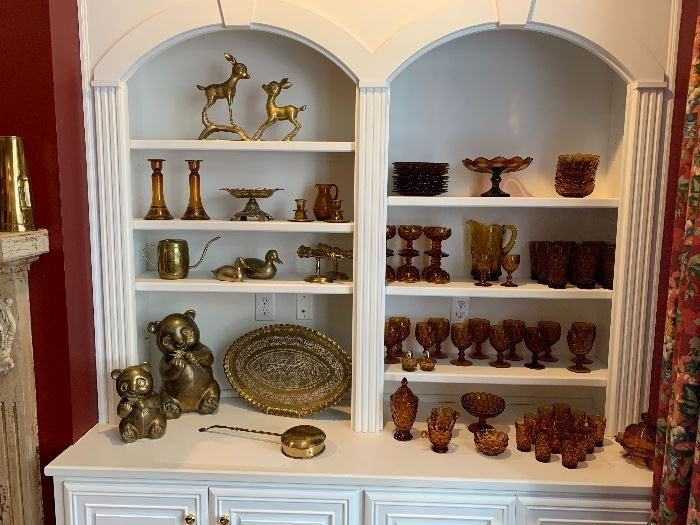 Vintage Brass Decorative accesories...Amberware, Glasses, Candy Dish, Compote, Plates & Bowls