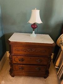 Oak 3 drawer chest, marble top, hand carved drawer pulls