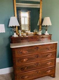 Antique 4 Drawer Oak Dresser with Marble top..Hand carved drawer pulls.