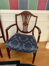 2 arm and 4 side shield back dining room chairs-