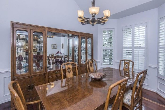 THOMASVILLE ASIAN INSPIRED DINING TABLE,. CHAIRS, MASSIVE BOOKCASE CHINA AND SERVING PIECE