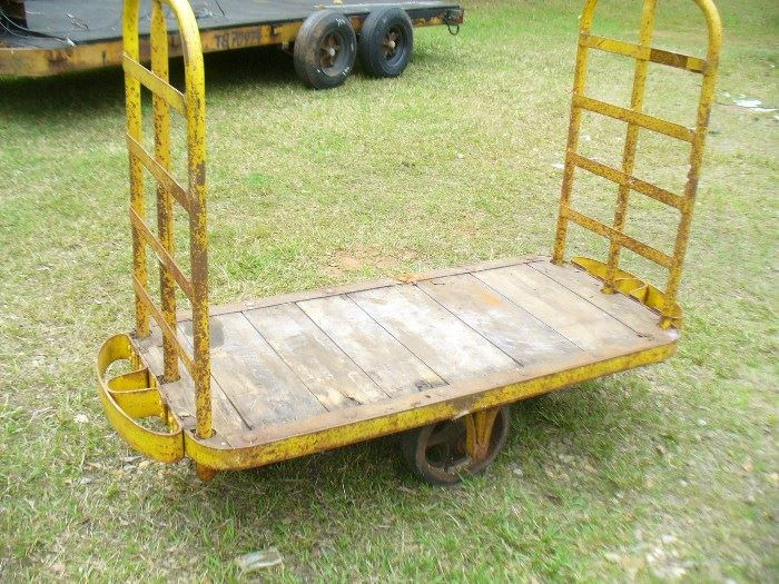 Vintage Railway luggage cart extra heavy duty and swivels any direction